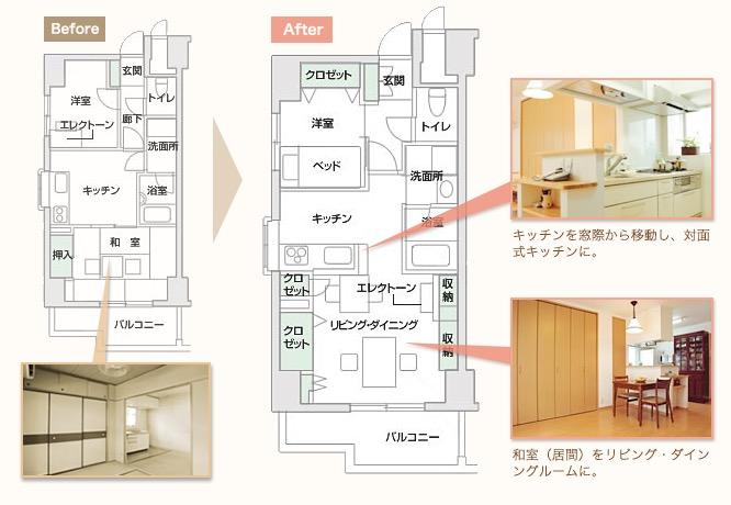 キッチンを窓際から移動し、対面式キッチンに。 和室(居間)をリビング・ダインングルームに。