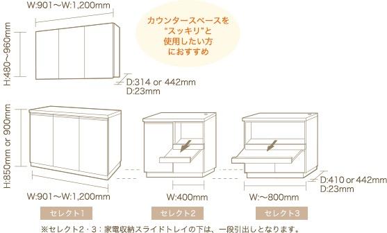 """※セレクト2・3:家電収納スライドトレイの下は、一段引出しとなります。 カウンタースペースを""""スッキリ""""と使用したい方におすすめ"""