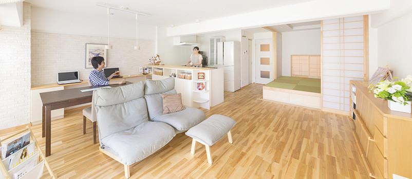 床は無垢材、畳でごろりこだわり住まい